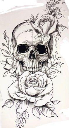 Arm Tattoos Skulls, Pretty Skull Tattoos, Feminine Skull Tattoos, Floral Skull Tattoos, Skull Tattoo Flowers, Cute Tattoos, Flower Skull, Skull Couple Tattoo, Cute Thigh Tattoos