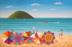 San Bertini - Minha Arte... Minha Vida...: Outubro 2009 Pintura Wallpaper, Umbrella Painting, Colorful Umbrellas, Caribbean Art, Retro Poster, Beach Adventure, Fb Covers, Arte Pop, Naive Art