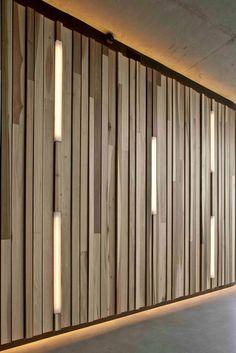 Creative wall design wood paneling interior decoration ideas lighting Source by freshideen Wood Panel Walls, Wooden Walls, Wood Paneling, Paneling Ideas, Outdoor Paneling, Wooden Wall Panels, Wood Slats, Outdoor Walls, Interior Walls