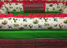 Southwest- Cactus and Serape Custom Crib Bedding with Pink and Green