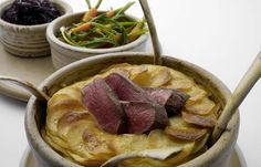 Lonk lamb Lancashire hotpot, roast loin, pickled red cabbage, tangled carrots and leeks