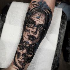 f746858da Dead girl tattoo by Felipe Rodriguez. FelipeRodriguez deadgirl watercolor  sketch deadgirl skull Vila Olimpia Sp