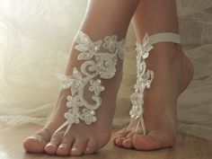 Wedding Accessories – ivory Beach wedding barefoot sandals – a unique product by WEDDINGGloves on DaWanda