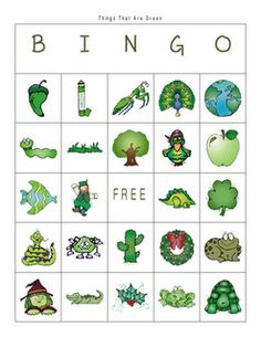 Things That are Green Bingo Game. -  Pinned by @PediaStaff – Please Visit http://ht.ly/63sNt for all our pediatric therapy pins