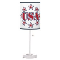 USA with Stars Desk Lamps   •   This design is available on t-shirts, hats, mugs, buttons, key chains and much more   •   Please check out our others designs at: www.zazzle.com/ZuzusFunHouse*