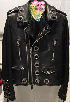 Bonna Black Grommets Biker Jacket