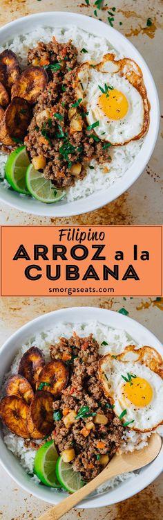 Filipino Cuban Style Rice – Smorgaseats – Famous Last Words Cuban Recipes, Filipino Recipes, Beef Recipes, Cooking Recipes, Healthy Recipes, Pinoy Recipe, Filipino Desserts, Vegetable Recipes, Vegetarian Recipes