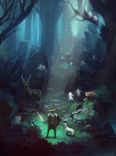 It's adventure time! by *Tonyholmsten on deviantART. I loooove this. Beautiful lighting, and realistic interpretation. Fantasy Forest, Fantasy World, Fantasy Art, Environment Concept Art, Environment Design, Fantasy Landscape, Landscape Art, Adventure Time, Illustrations
