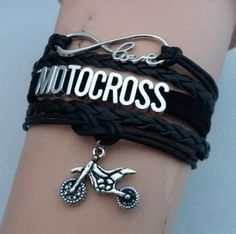 Bracelets - Infinity Love Motocross Charm Black Leather Bracelet
