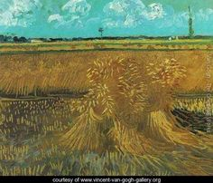 Wheat Field With Sheaves - Vincent Van Gogh - www.vincent-van-gogh-gallery.org