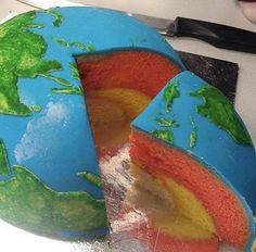 Earth Cake! Would be great for teachers to use this to teach about the crust, mantle, and core! YUM!