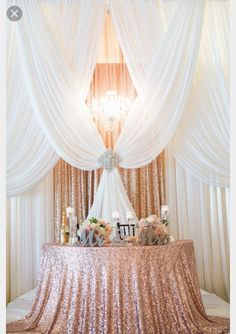 Gorgeous pipe and drape backdrop to a half moon sweetheart table in sequin rose gold., Attractive pipe and drape backdrop to a half moon sweetheart desk in sequin rose gold. Attractive pipe and drape backdrop to a half moon sweet. Quinceanera Decorations, Reception Decorations, Table Decorations, Reception Backdrop, Event Decor, Sweetheart Table Backdrop, Backdrop Ideas, Quinceanera Party, Reception Ideas