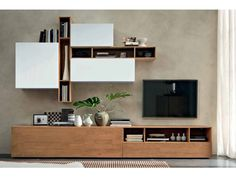 Storage wall by FGF mobili cod. in wood and lacquered - Storage wall by FGF mobili cod. Living Room Size, Room Size Rugs, Classy Living Room, Ikea Living Room, Room Rugs, Tv Shelf Design, Tv Wall Design, Living Tv, Small Living