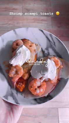 Shrimp scampi toasts Garlic Salt, Garlic Butter, Butter Substitute, Sweet Potato Slices, Provolone Cheese, Sliced Potatoes, Fresh Seafood, Scampi, How To Cook Shrimp