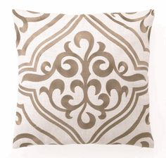 """""""Tile"""" Embroidered Linen Pillow, Taupe, 16"""" x 16"""""""