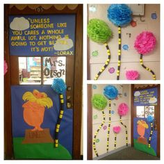 "Lorax doorway / bulletin for our ""human impact on the environment"" science unit."