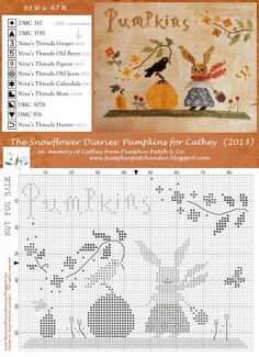 Pumpkins for Cathey Tribute Design by The Snowflower Diaries - free chart...