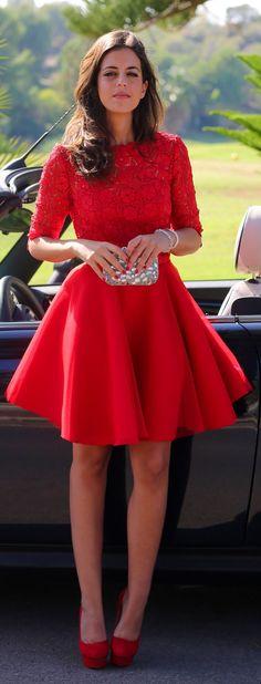 Red Lace Bodice Open Back Skater Dress