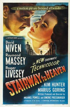 Stairway To Heaven (a. A Matter of Life and Death) - Starring David Niven and Kim Hunter. A British wartime aviator argues for his life before a celestial court. Old Film Posters, Best Movie Posters, Movie Poster Art, Old Movies, Vintage Movies, Best Actor Oscar, Kim Hunter, David Niven, Fiction Movies