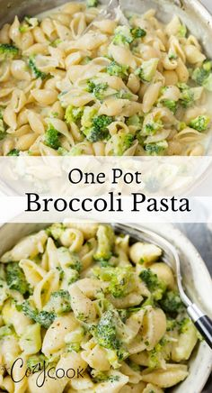 This Creamy Broccoli Pasta is easy to make in One Pot with a buttery Garlic Parmesan sauce. Makes a perfect family dinner or easy weekday meal! #dinnerideas #meatless #onepotpasta Meatless Recipes, Rice Recipes, Lunch Recipes, Pasta Recipes, Beef Recipes, Chicken Recipes, Dinner Recipes, Pasta Side Dishes, Pasta Sides