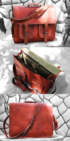 """16"""" Distressed Leather Messenger/ Laptop Bag for Men/women. Double Pockets to keep tit bits... Spacious, good for carrying laptop & documents."""
