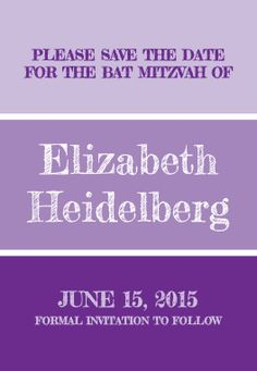 Classic Bat Mitzvah Save the Date Magnet
