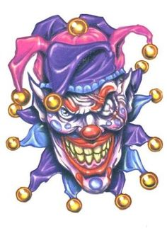 Krazy Crazy Clown Jeering Jester Temporary Body Art Tattoos x Safe & Non Toixc FDA certified colorants. Easy to Apply! Lasts Days on average! Joker Clown, Clown Horror, Joker Art, Creepy Clown, Arte Horror, Horror Art, Wicked Jester, Evil Jester, Evil Clown Tattoos