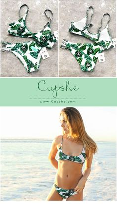 ef01660542d Glamorous number!  21.99   Free Shipping! You can show your hot figure with  its leaves printing and strappy detailing. This cute swimsuit is perfect  for ...
