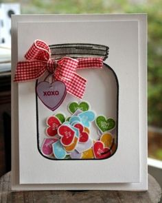 Diy Cards Discover 27 Cute DIY Valentines Day Card Ideas: How to Make Cool Homemade Valentines If youre looking for inspiration weve rounded up 27 of our favorite cute DIY Valentines Day cards. Here are the best DIY Valentines Day cards! Tarjetas Diy, Mason Jar Cards, Mason Jars, Shaker Cards, Handmade Birthday Cards, Best Birthday Cards, Special Birthday, Christmas Birthday, Diy Christmas