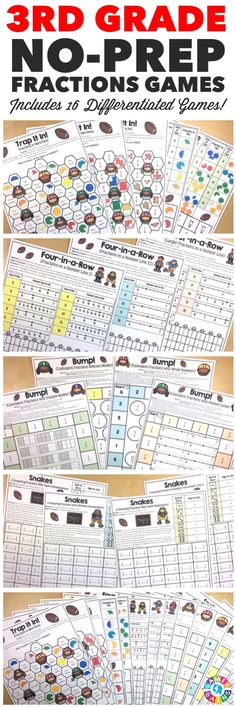 """I LOVE that these games include different skill levels for fractions and the kids LOVE them too!"" This 3rd Grade Fractions Games Pack includes 16 differentiated games for practicing fraction models, fractions on a number line, equivalent fractions, and comparing fractions.  These games support all of the 3rd grade CCSS fraction standards!"