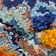beaded embroidery Another detail shot of my blue embroidery, with an additional shot! Getting close to the end on this one. Abstract Embroidery, Beaded Embroidery, Embroidery Stitches, Embroidery Patterns, Hand Embroidery, Design Textile, Textile Art, Do It Yourself Inspiration, Fabric Art