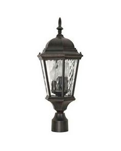 Nuvo Lighting 60-798 Fordham CollectionThree Light Exterior Outdoor Post Lantern in Old Penny Bronze Finish