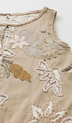The Margot Tunic features a keyhole detail at the neckline, side pockets, and a hand-embroidered lace-inspired motif with intricate, beaded details. Embroidery Applique, Embroidery Stitches, Embroidery Patterns, Diy Clothing, Sewing Clothes, Fabric Embellishment, Reverse Applique, Textiles, Fabric Manipulation