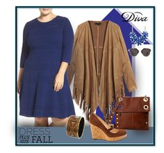"""""""She's Happy and Blue"""" by michelletheaflack ❤ liked on Polyvore featuring DIVA, Eliza J, Hammitt, Christian Louboutin, Christian Dior, Kate Spade, Hermès, Fall, dress and plussize"""