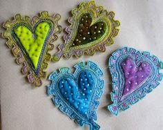 jackie cardy textiles - Google Search Felt Fabric, Fabric Art, Fabric Crafts, Felt Brooch, Brooches Handmade, Wool Applique, Fabric Jewelry, Felt Hearts, Doll Crafts