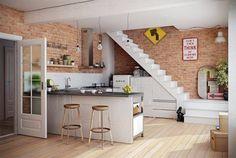 As paredes de tijolinho são o ponto inicial destes ambientes, que misturaram elementos diferentes para dar ares de loft a seus espaços.