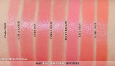 MAC Peach Coral Lipstick Collection swatches