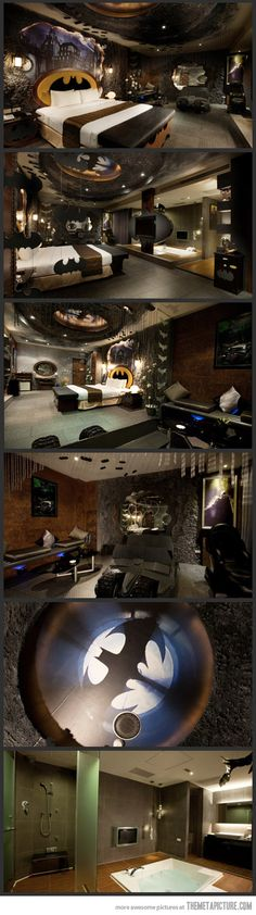 Batman Hotel in Taiwan | If I ever win the lottery, this will be my bedroom, and the rest of the house will look like The Who Shop and Hogwarts. ;)