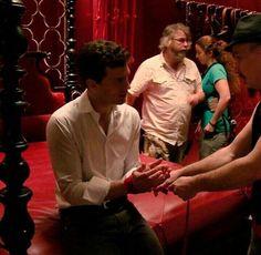 Behind the scenes #fiftyshades @lilyslibrary #movie #jamiedornan #dakotajohnson Jamie LITERALLY learning the ropes :) on set