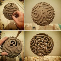 Piercework Clay Sphere -- I don't know if it could be done well on a small enough scale.  But I'm thinking how cool it would look to do a large polymer clay bead in a similar effect that could then be a central pendant on a necklace.
