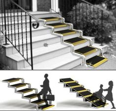 Convertible is a conceptual user-friendly staircase which can be transformed into a ramp. It's an ingenious idea to help elderly people or anyone who has w Handicap Accessible Home, Handicap Ramps, Ramp Design, House Design, Kitchen Cabinet Dimensions, Handicap Bathroom, Ada Bathroom, Wheelchair Ramp, Home Modern