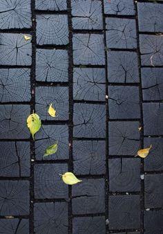 Charred wood pavers