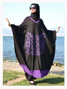 Black Purple Henna Tunic Batwing Top Modest Shirt Boho Lagenlook Plus Size Abaya #HennaElisa