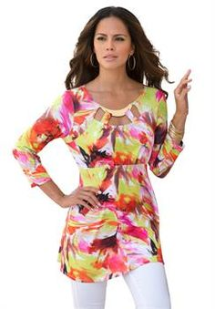 Plus Size Printed Cut Out Tunic