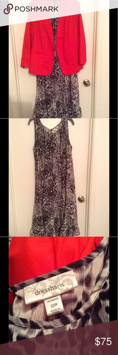 Black and White Patterned dress with Red Blazer Black and white animal print dress paired with a red blazer.  Priced as an outfit but willing to sell separately. Dress Barn Dresses Asymmetrical