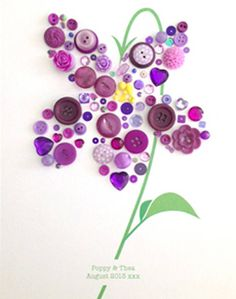 Personalised Baby Girl Button Violet Artwork