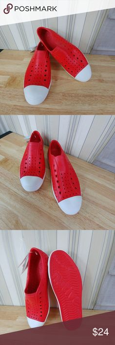 Native footwear men's Jefferson sneakers Native Footwear men's Jefferson fashion sneakers,  size 12, color red with white sole, Bold and edgy, lightweight EVA upper, lining sole, cushioned allover perforations allow your feet to breathe, keeping them dry and cool, antimicrobial properties reduce foot odors, compare $52.00 retail price value, comes new with tags without a box as closeout merchandise in good cosmetic condition. Native Shoes Sneakers