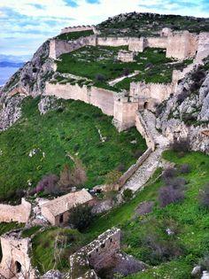 Acrocorinth #castle #greece Greek Castle, Corinth Greece, Wonderful Places, Beautiful Places, Places To Travel, Places To Visit, Places In Greece, Medieval Fortress, Castle Ruins