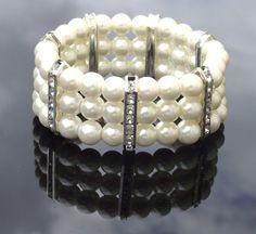 Ivory Pearl & Crystal Bracelet Bridesmaids by JulesJewellery, $21.00