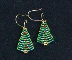 Beaded Christmas Tree Earrings. $5.00, via Etsy.